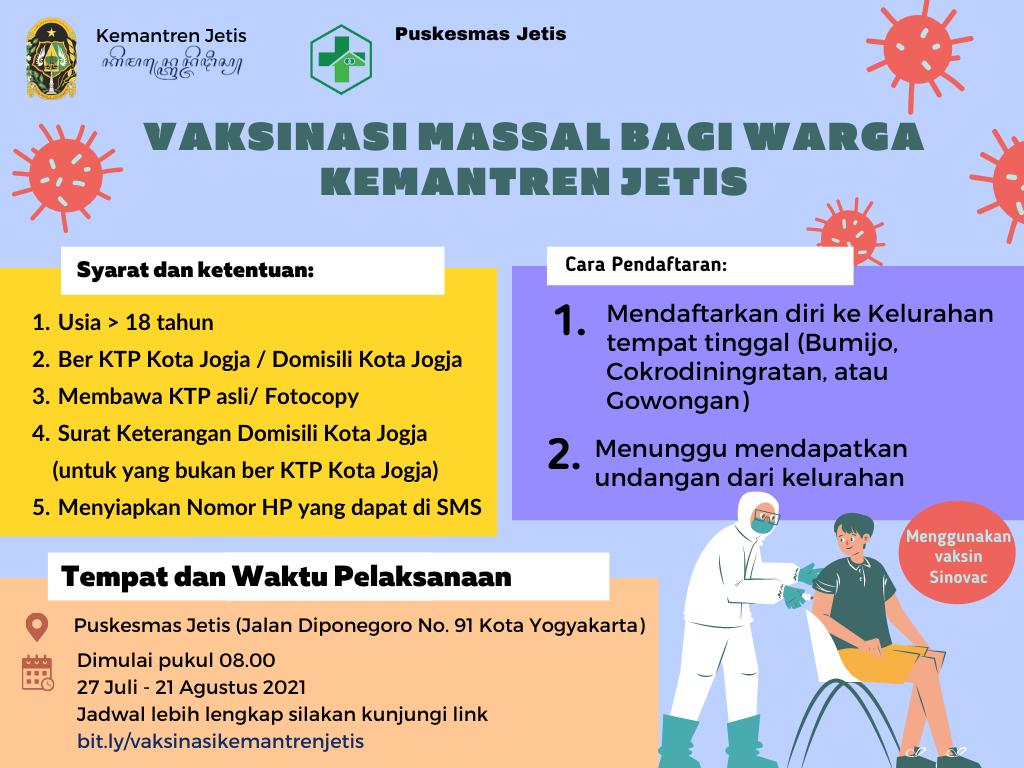 Yuk Daftar Vaksinasi Massal di Kemantren Jetis!