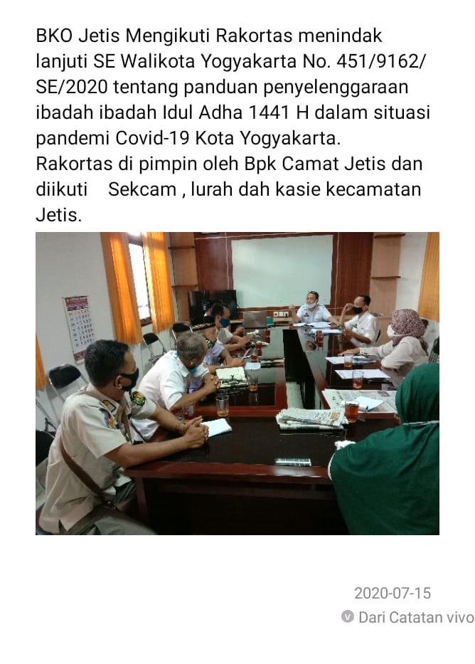 Rakortas tindak lanjut SE Walikota mengenai Penyelenggaraan Ibadah Idul Adha 1441H